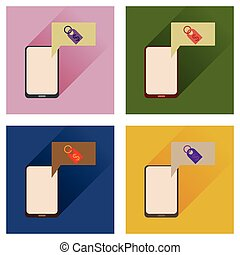 Concept of flat icons with long shadow mobile money