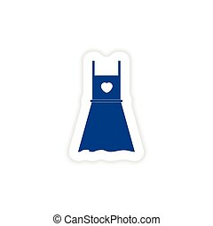 paper sticker on white background summer dress