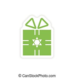 paper sticker on white background Hanukkah gift