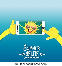 Summer selfie vector concept background smiling Sun taking a...