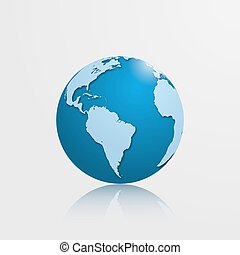 High detailed globe with South America. Vector illustration.