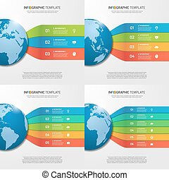 Infographic templates with globe with 3, 4, 5, 6 options,...