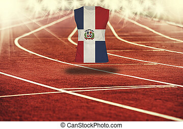 red running track with lines and Dominican Republic flag on...