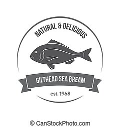 Vector gilthead sea bream, sparus aurata, dorado emblem,...