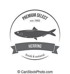 Vector herring emblem, label. Template for stores, markets, food packaging. Seafood illustration.