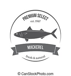 Vector mackerel, scomber emblem, label. Template for stores, markets, food packaging. Seafood illustration.