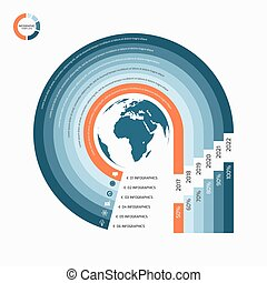 Circle infographic template with globe with 6 options,...
