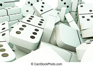 falling domino - 3d illustration of domino pieces that...