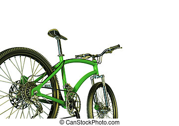 green mountain bike - 3d illustration of a green mountain...