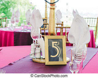 Wedding table with the sign number five - Wedding table with...