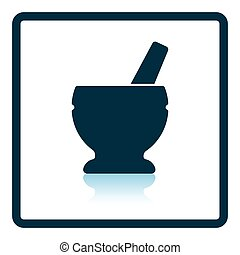 Mortar and pestle icon Shadow reflection design Vector...
