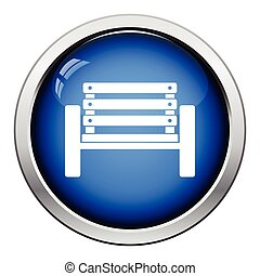 Tennis player bench icon Glossy button design Vector...