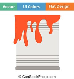 Paint can icon Flat color design Vector illustration