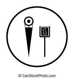 American football sideline markers icon. Thin circle design....