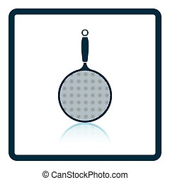 Kitchen colander icon. Shadow reflection design. Vector...