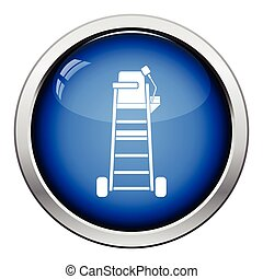 Tennis referee chair tower icon. Glossy button design....