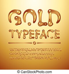 Vector gold typeface Letters A-Z, a-z, numbers and symbols...