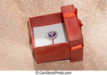 Silver Ring and Gift Box - Silver amethyst ring in a red...