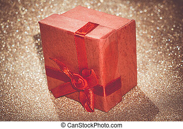 Red Gift Box - Decorative red gift box with bow on...