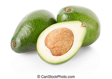 Avocado fruits and half on white