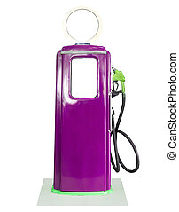 Vintage purple fuel pump on white background - Old purple...