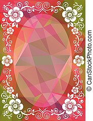 pink green floral border - Abstract floral border on a...