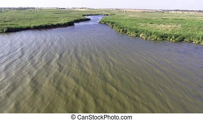Danube Delta aerial view - Flying over the big river Aerial...