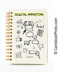 Notebook on desk with icon relate with Digital Marketing,...