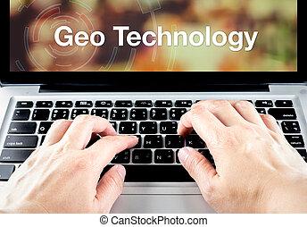 Geo, tecnología, palabra, en, cuaderno, pantalla,...