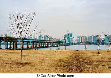 Han river park on a cold winter day