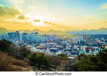 View of Seoul at sunset