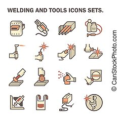 Welding work and tools vector icon sets