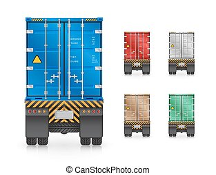 Trailer truck - Vector of trailer truck and cargo container.