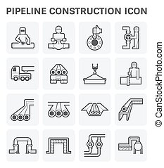 Pipeline construction - pipeline construction vector icon...