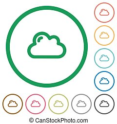 Cloud outlined flat icons - Set of cloud color round...