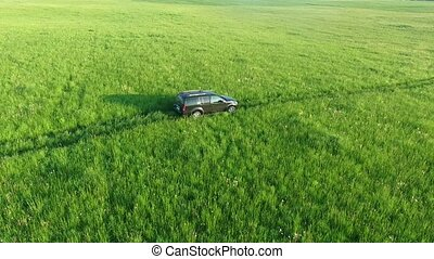 Aerial view of suv car moving on road in green fields
