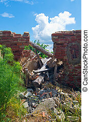 roof collapsed of degraded building - broken beams of a...