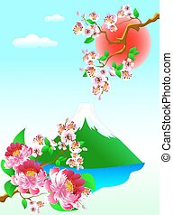 Mount Fuji and flowers - Mount Fuji, flowers and blooming...