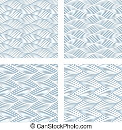 Four sea waves Seamless Patterns - Collection of four blue...