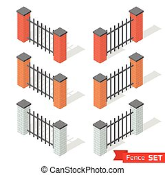 Set of three different color fence sections
