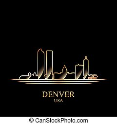 Gold silhouette of Denver on black background, vector...