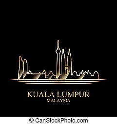 Gold silhouette of Kuala Lumpur on black background