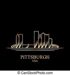 Gold silhouette of Pittsburgh on black background, vector...