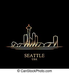 Gold silhouette of Seattle on black background, vector...
