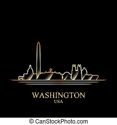 Gold silhouette of Washington on black background, vector...