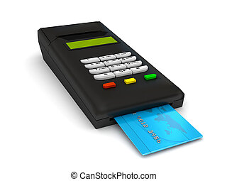 Credit card terminal over white