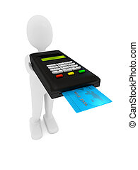Credit card terminal over white. 3d rendered image
