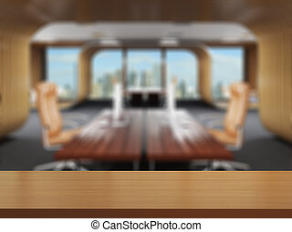 3D rendering of office space in the shopping center. Blurred...