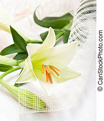 Beautiful white Easter lily flower bouquet, religious symbol...