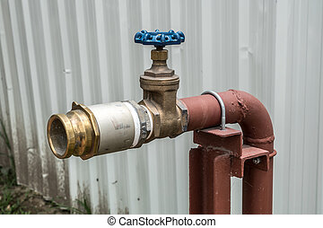 Fire hydrant with blue valve